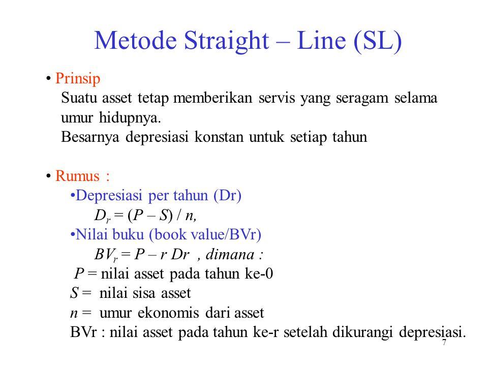 7 Metode Straight – Line (SL) Prinsip Suatu asset tetap memberikan servis yang seragam selama umur hidupnya. Besarnya depresiasi konstan untuk setiap