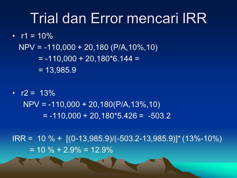 Trial dan Error mencari IRR r1 = 10% NPV = -110,000 + 20,180 (P/A,10%,10) = -110,000 + 20,180*6.144 = = 13,985.9 r2 = 13% NPV = -110,000 + 20,180(P/A,13%,10) = -110,000 + 20,180*5.426 = -503.2 IRR = 10 % + [(0-13,985.9)/(-503.2-13,985.9)]* (13%-10%) = 10 % + 2.9% = 12.9%