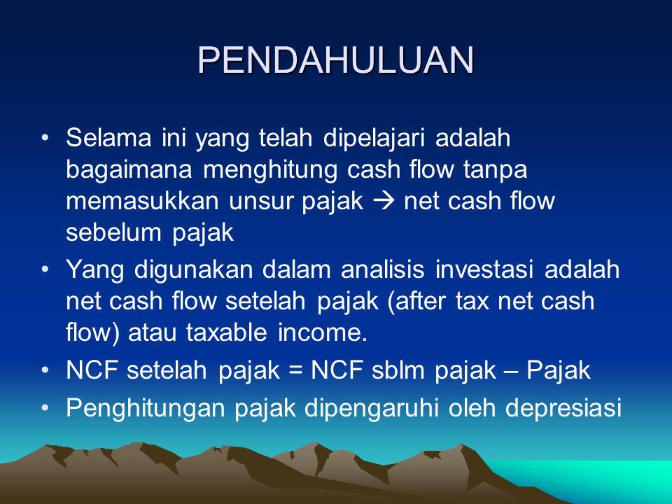 PENDAHULUAN Selama ini yang telah dipelajari adalah bagaimana menghitung cash flow tanpa memasukkan unsur pajak  net cash flow sebelum pajak Yang digunakan dalam analisis investasi adalah net cash flow setelah pajak (after tax net cash flow) atau taxable income.