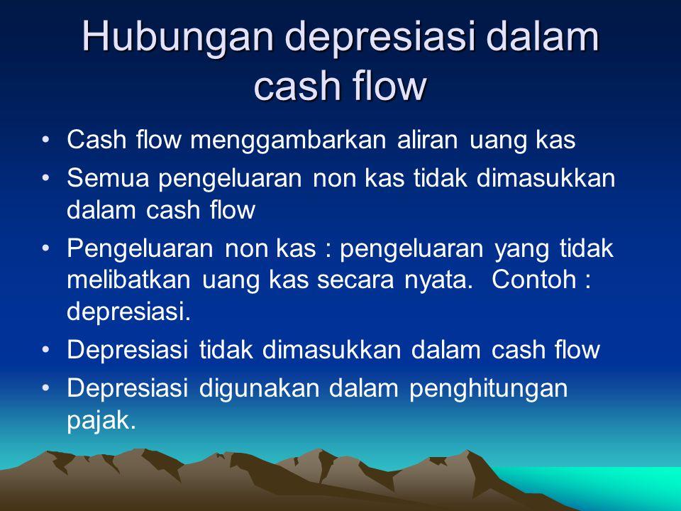 Hubungan depresiasi dalam cash flow Cash flow menggambarkan aliran uang kas Semua pengeluaran non kas tidak dimasukkan dalam cash flow Pengeluaran non