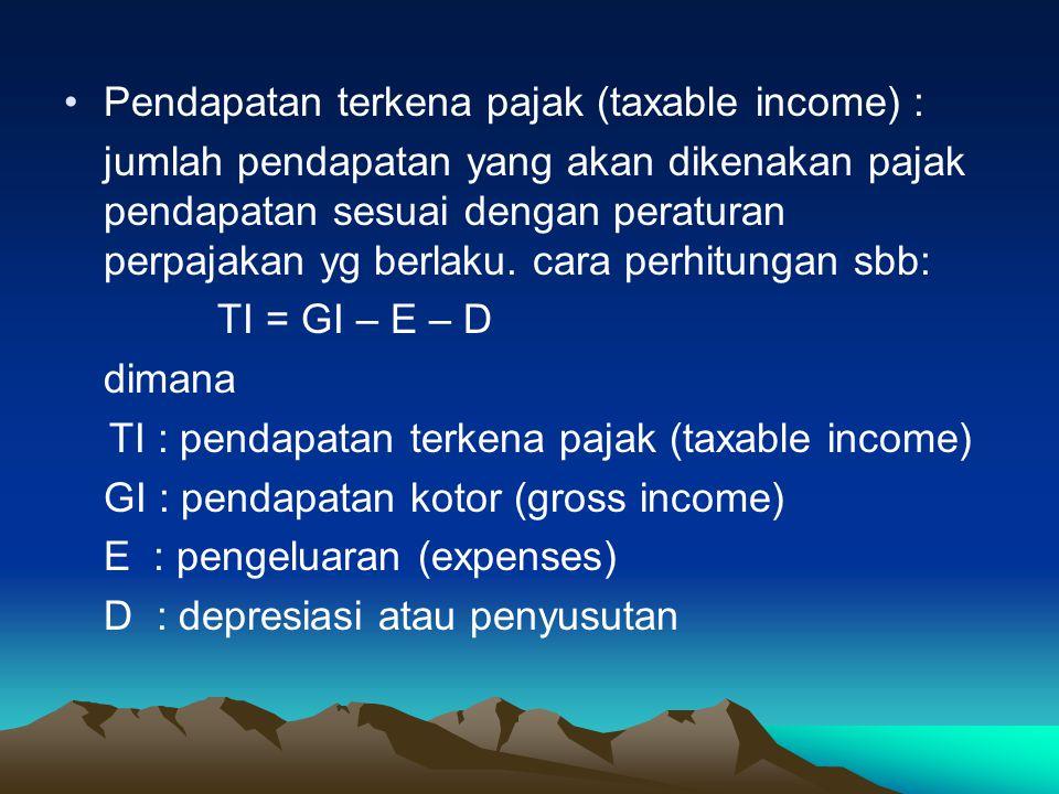 Perhitungan-2 dasar perpajakan Besarnya pajak pendapatan yg harus ditanggung perusahaan dihitung dgn rumus dasar sbb: Pajak = t% * TI dimana : P : besarnya pajak TI : pendapatan terkena pajak t : tingkat pajak yg dikenakan untuk pendapatan yg terkena pajak sebesar TI (%)