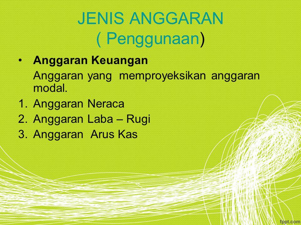 JENIS ANGGARAN ( Penggunaan) Anggaran Keuangan Anggaran yang memproyeksikan anggaran modal.