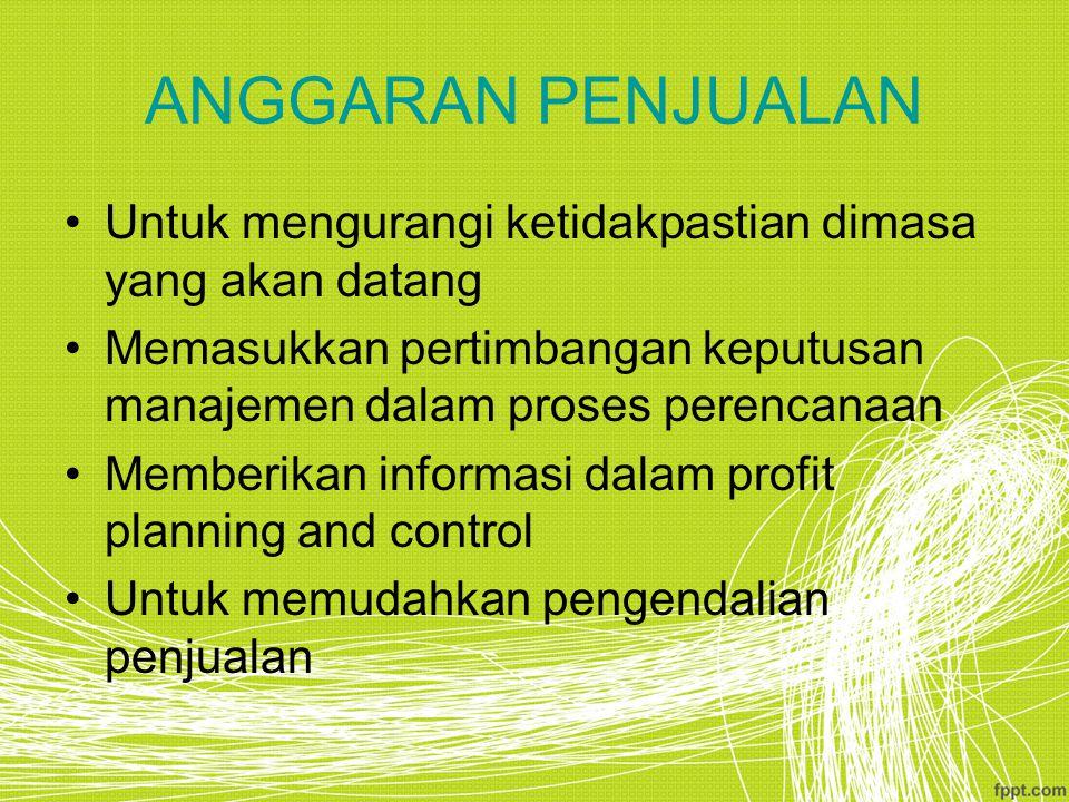 ANGGARAN PENJUALAN Untuk mengurangi ketidakpastian dimasa yang akan datang Memasukkan pertimbangan keputusan manajemen dalam proses perencanaan Memberikan informasi dalam profit planning and control Untuk memudahkan pengendalian penjualan