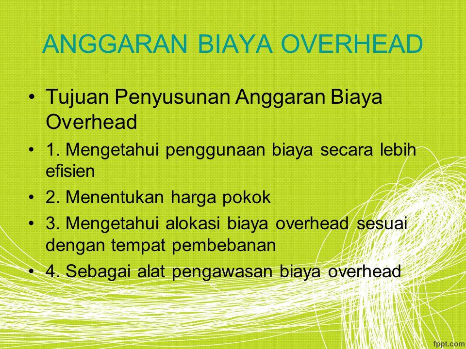 ANGGARAN BIAYA OVERHEAD Tujuan Penyusunan Anggaran Biaya Overhead 1.