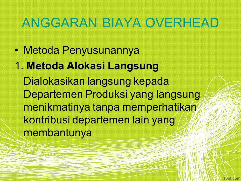 ANGGARAN BIAYA OVERHEAD Metoda Penyusunannya 1.
