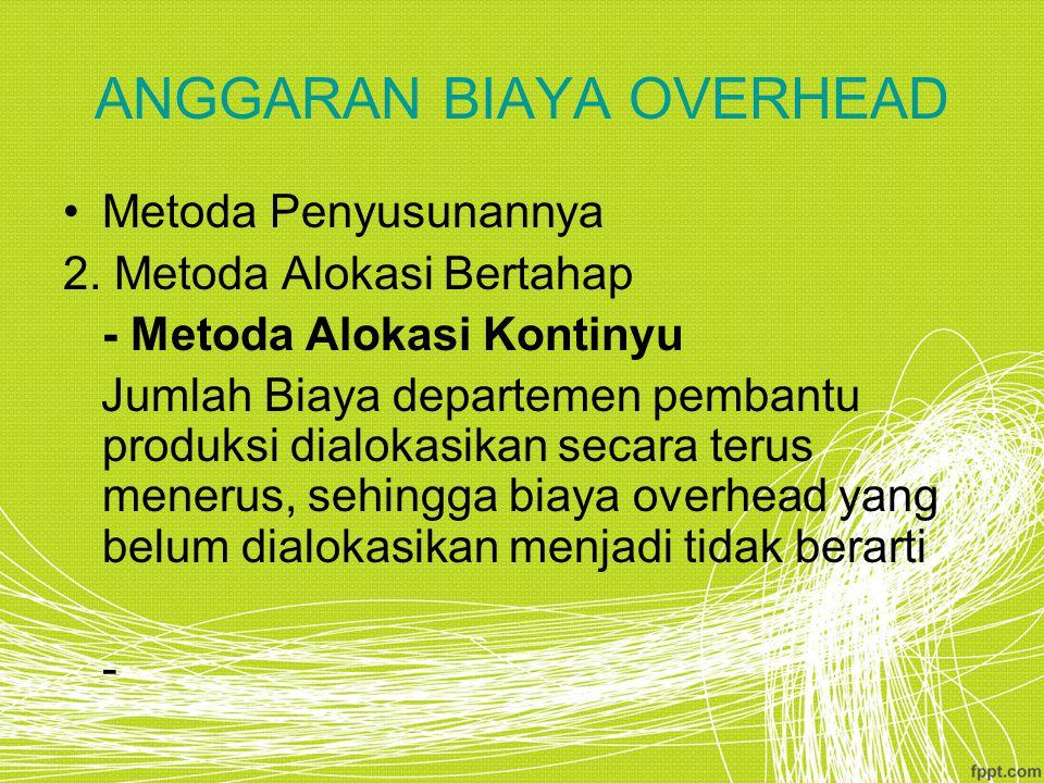 ANGGARAN BIAYA OVERHEAD Metoda Penyusunannya 2.