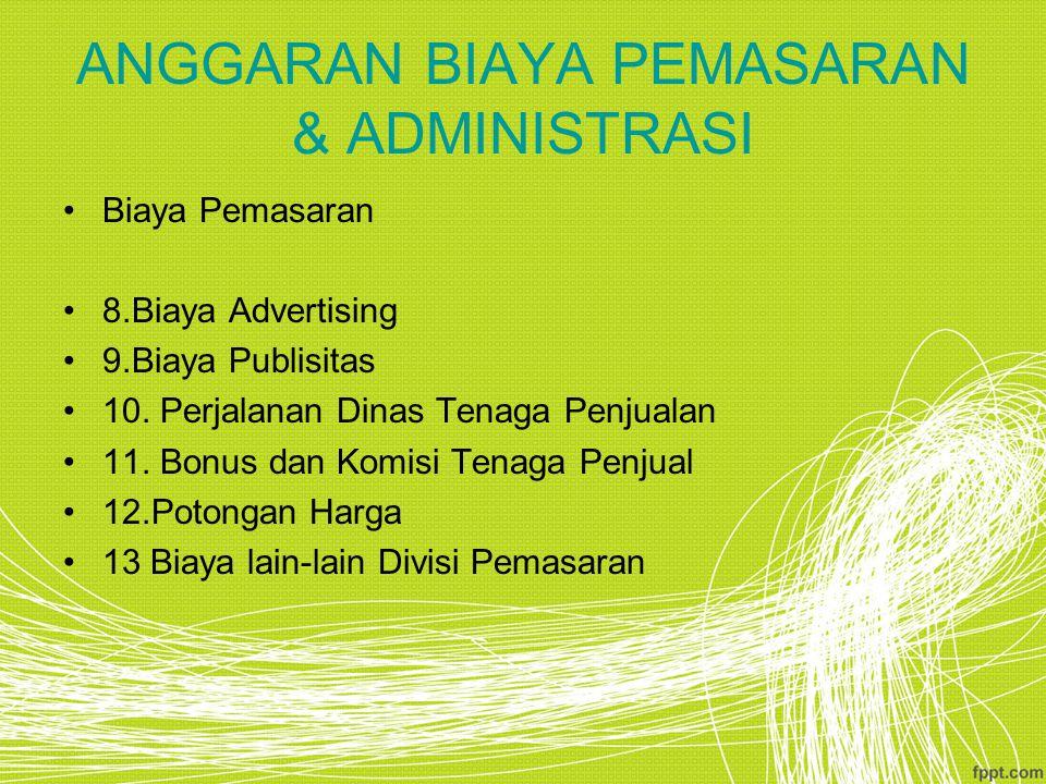 ANGGARAN BIAYA PEMASARAN & ADMINISTRASI Biaya Pemasaran 8.Biaya Advertising 9.Biaya Publisitas 10.