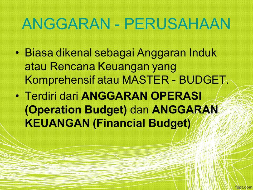 ANGGARAN - PERUSAHAAN Biasa dikenal sebagai Anggaran Induk atau Rencana Keuangan yang Komprehensif atau MASTER - BUDGET.