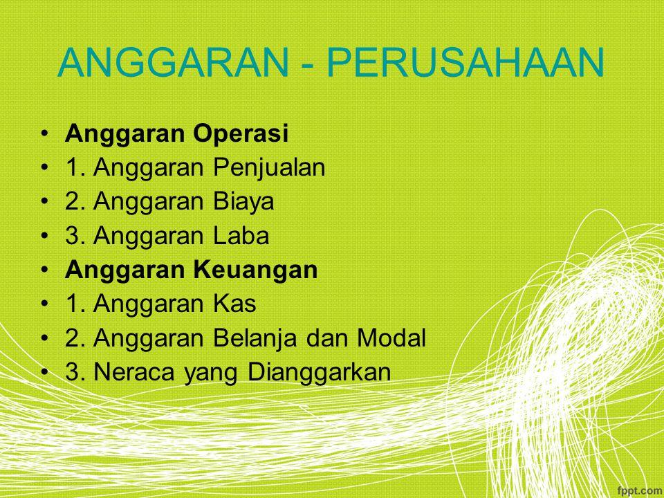 ANGGARAN - PERUSAHAAN Anggaran Operasi 1.Anggaran Penjualan 2.