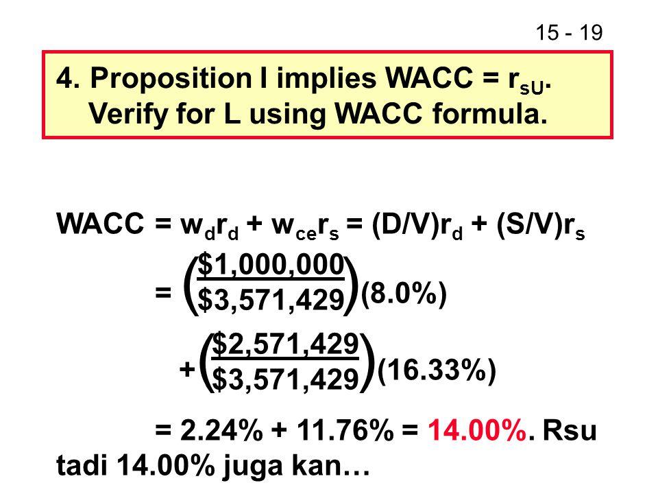 15 - 19 4.Proposition I implies WACC = r sU. Verify for L using WACC formula. WACC= w d r d + w ce r s = (D/V)r d + (S/V)r s = ( ) (8.0%) + ( ) (16.33