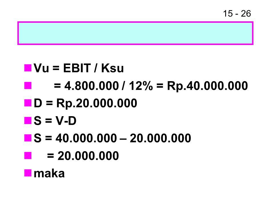 15 - 26 Vu = EBIT / Ksu = 4.800.000 / 12% = Rp.40.000.000 D = Rp.20.000.000 S = V-D S = 40.000.000 – 20.000.000 = 20.000.000 maka