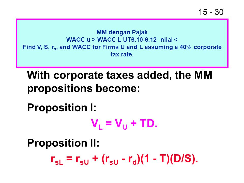 15 - 30 MM dengan Pajak WACC u > WACC L UT6.10-6.12 nilai < Find V, S, r s, and WACC for Firms U and L assuming a 40% corporate tax rate.