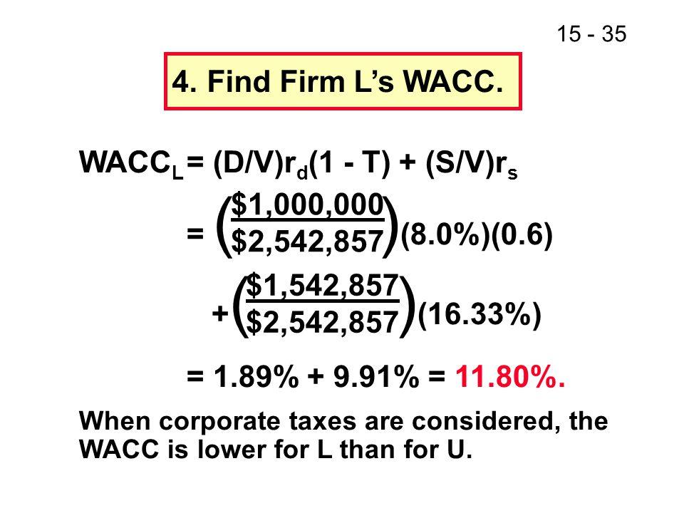 15 - 35 4.Find Firm L's WACC.