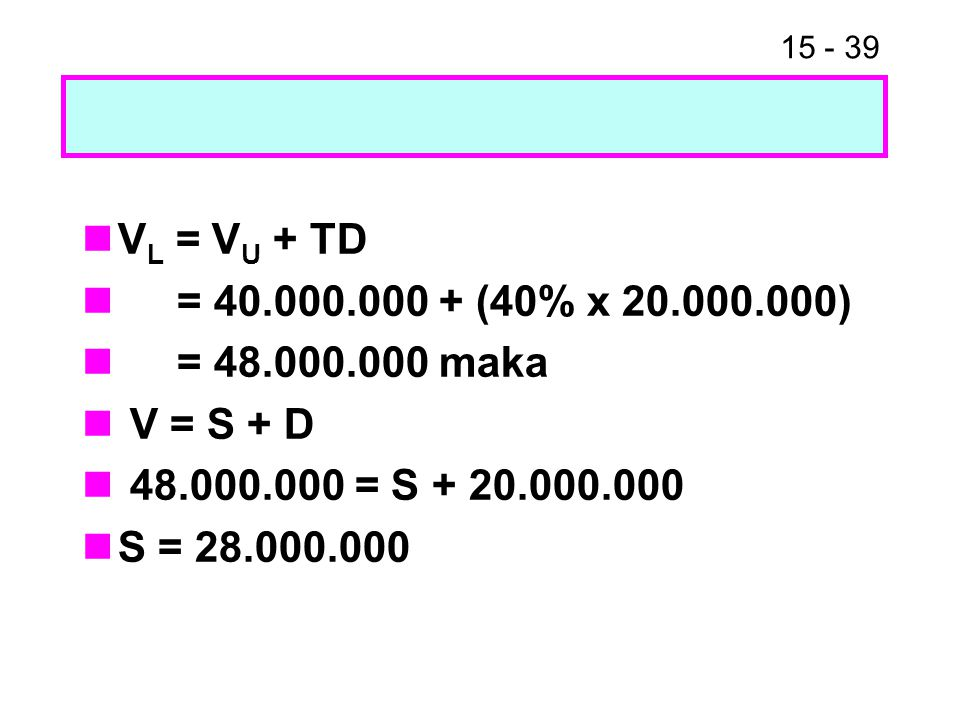 15 - 39 V L = V U + TD = 40.000.000 + (40% x 20.000.000) = 48.000.000 maka V = S + D 48.000.000 = S + 20.000.000 S = 28.000.000