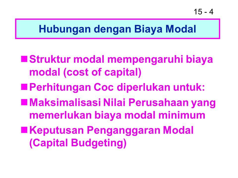 15 - 4 Hubungan dengan Biaya Modal Struktur modal mempengaruhi biaya modal (cost of capital) Perhitungan Coc diperlukan untuk: Maksimalisasi Nilai Per