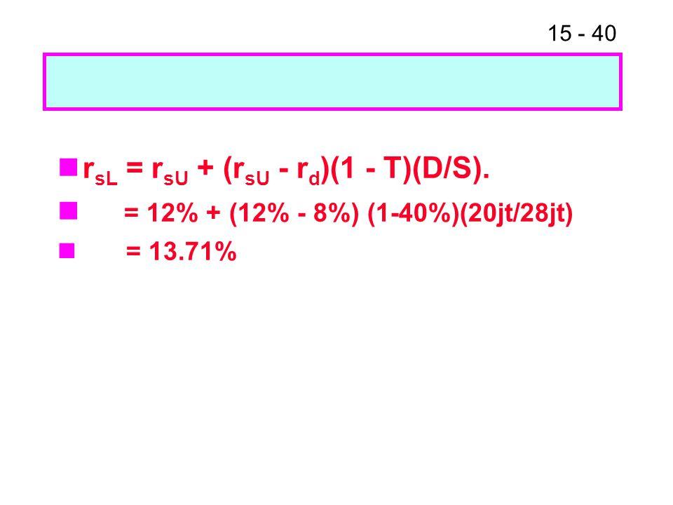 15 - 40 r sL = r sU + (r sU - r d )(1 - T)(D/S). = 12% + (12% - 8%) (1-40%)(20jt/28jt) = 13.71%