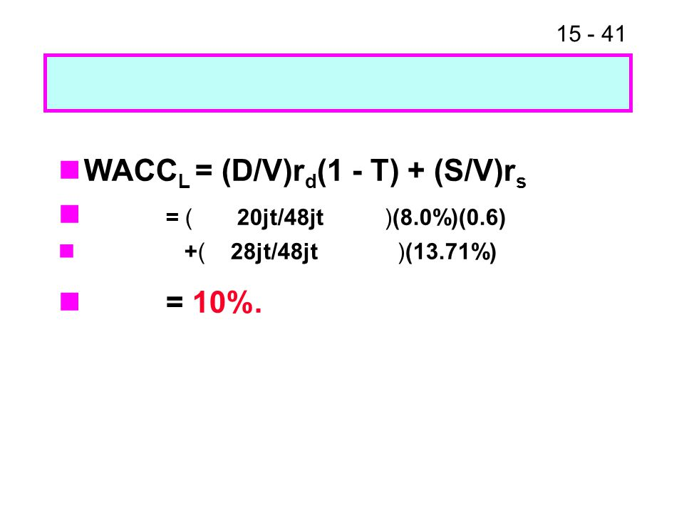 15 - 41 WACC L = (D/V)r d (1 - T) + (S/V)r s = ( 20jt/48jt )(8.0%)(0.6) +( 28jt/48jt )(13.71%) = 10%.