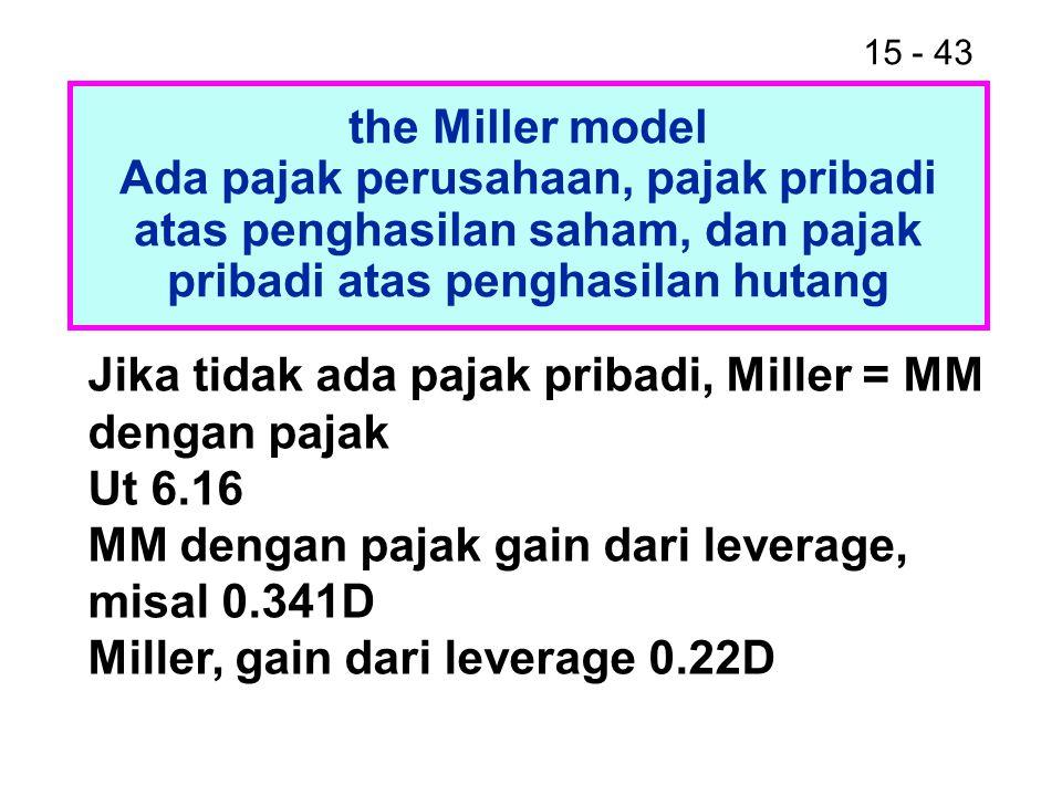 15 - 43 the Miller model Ada pajak perusahaan, pajak pribadi atas penghasilan saham, dan pajak pribadi atas penghasilan hutang Jika tidak ada pajak pr