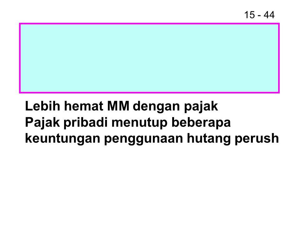 15 - 44 Lebih hemat MM dengan pajak Pajak pribadi menutup beberapa keuntungan penggunaan hutang perush
