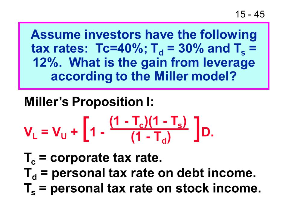 15 - 45 Assume investors have the following tax rates: Tc=40%; T d = 30% and T s = 12%. What is the gain from leverage according to the Miller model?