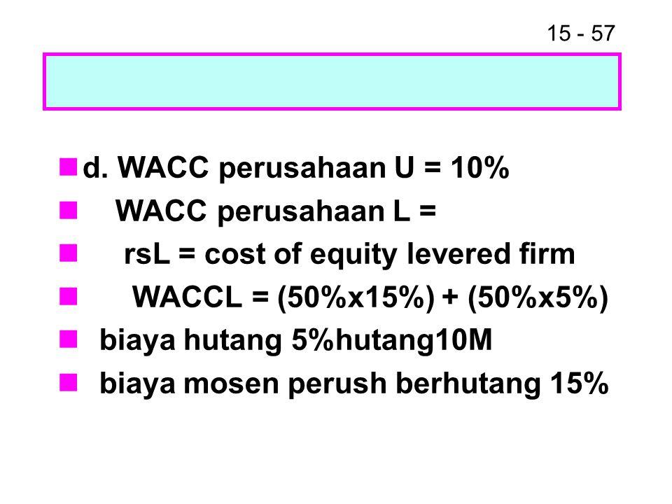 15 - 57 d. WACC perusahaan U = 10% WACC perusahaan L = rsL = cost of equity levered firm WACCL = (50%x15%) + (50%x5%) biaya hutang 5%hutang10M biaya m