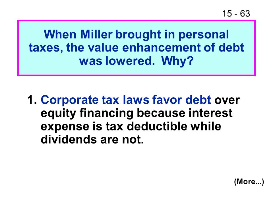 15 - 63 When Miller brought in personal taxes, the value enhancement of debt was lowered.