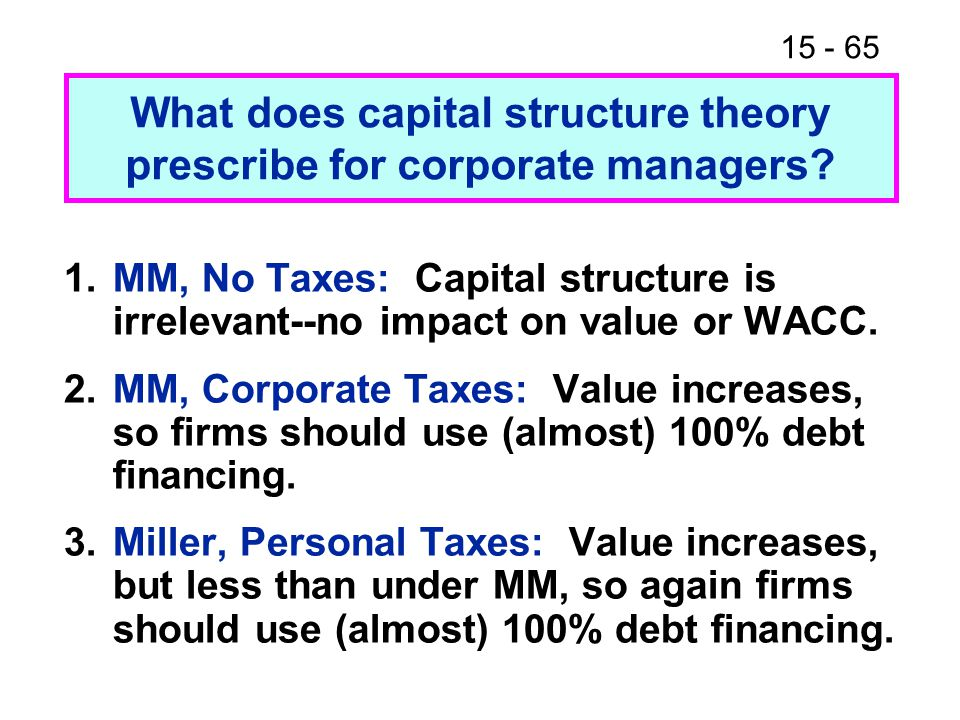 15 - 65 What does capital structure theory prescribe for corporate managers.