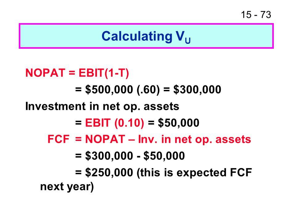 15 - 73 Calculating V U NOPAT = EBIT(1-T) = $500,000 (.60) = $300,000 Investment in net op. assets = EBIT (0.10) = $50,000 FCF = NOPAT – Inv. in net o