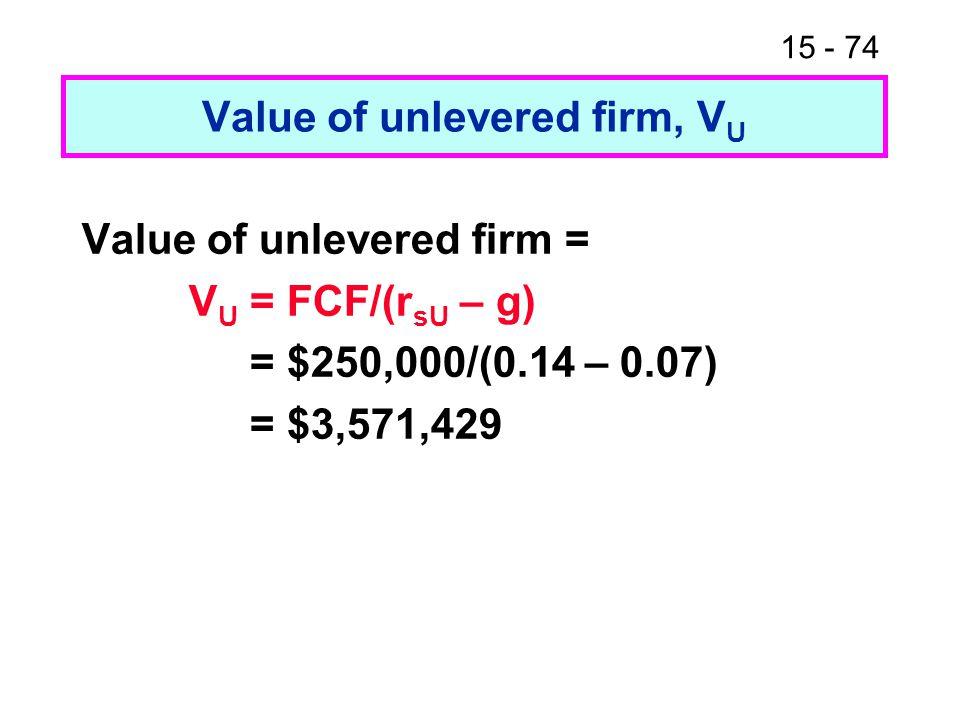 15 - 74 Value of unlevered firm, V U Value of unlevered firm = V U = FCF/(r sU – g) = $250,000/(0.14 – 0.07) = $3,571,429