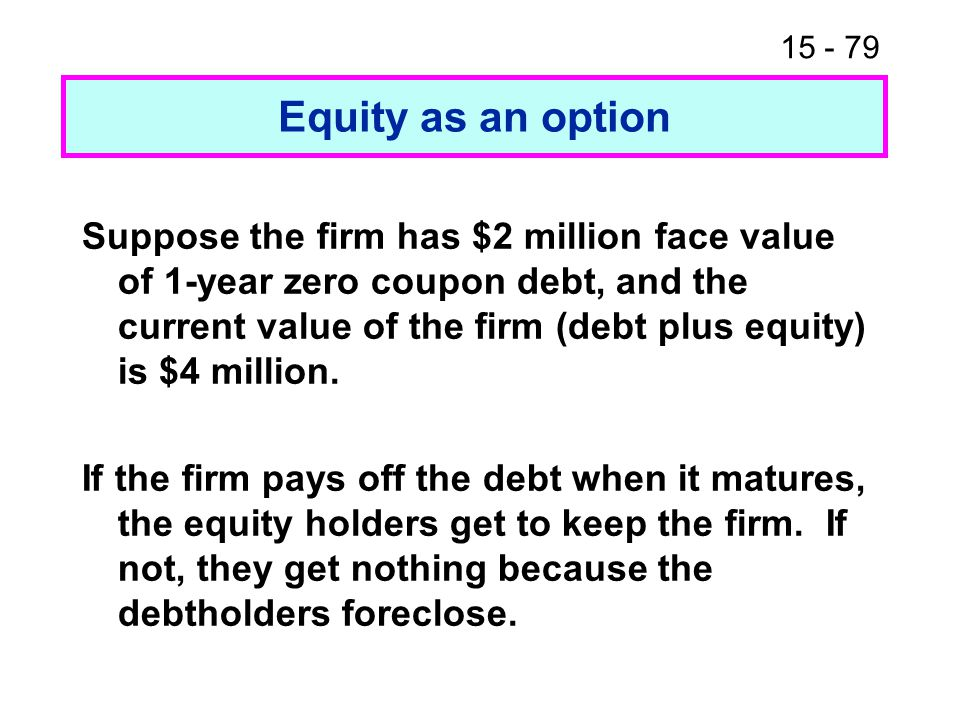 15 - 79 Equity as an option Suppose the firm has $2 million face value of 1-year zero coupon debt, and the current value of the firm (debt plus equity) is $4 million.