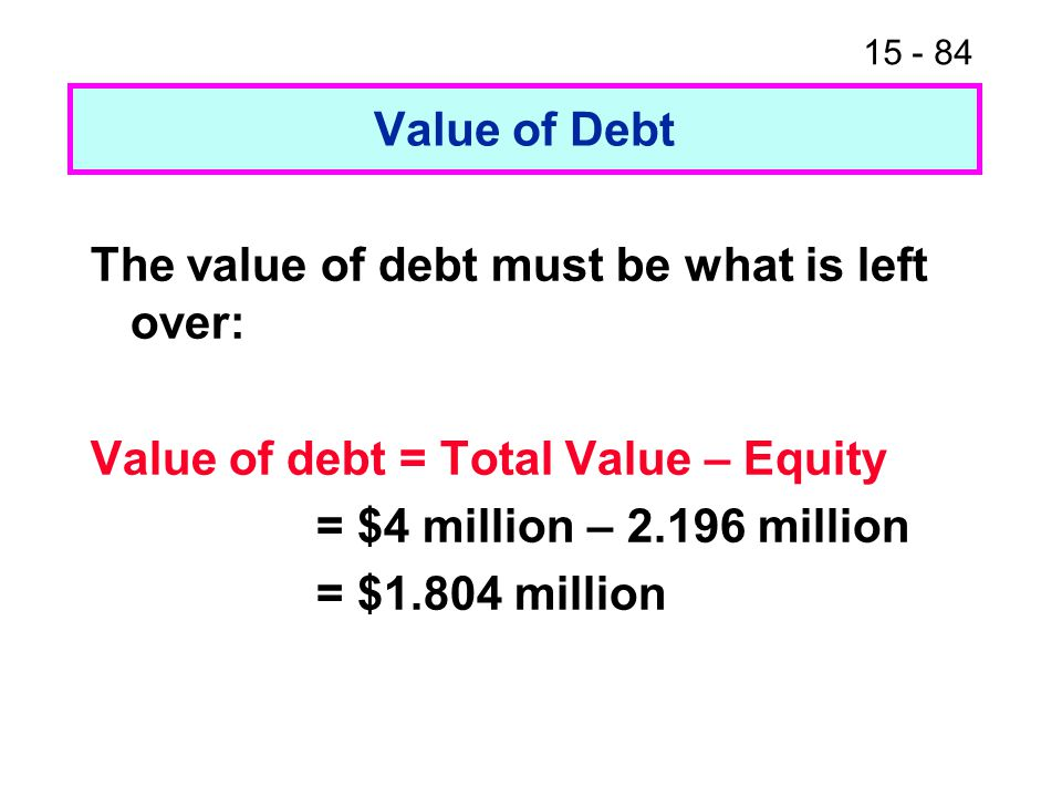 15 - 84 Value of Debt The value of debt must be what is left over: Value of debt = Total Value – Equity = $4 million – 2.196 million = $1.804 million