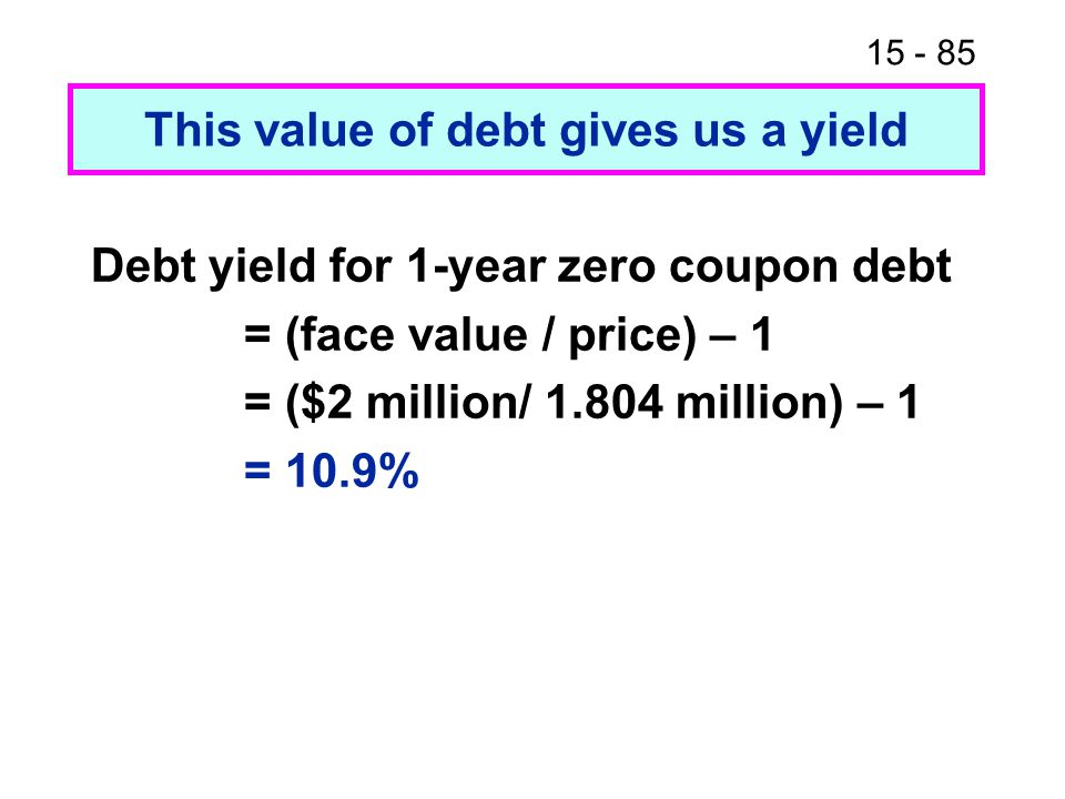 15 - 85 This value of debt gives us a yield Debt yield for 1-year zero coupon debt = (face value / price) – 1 = ($2 million/ 1.804 million) – 1 = 10.9
