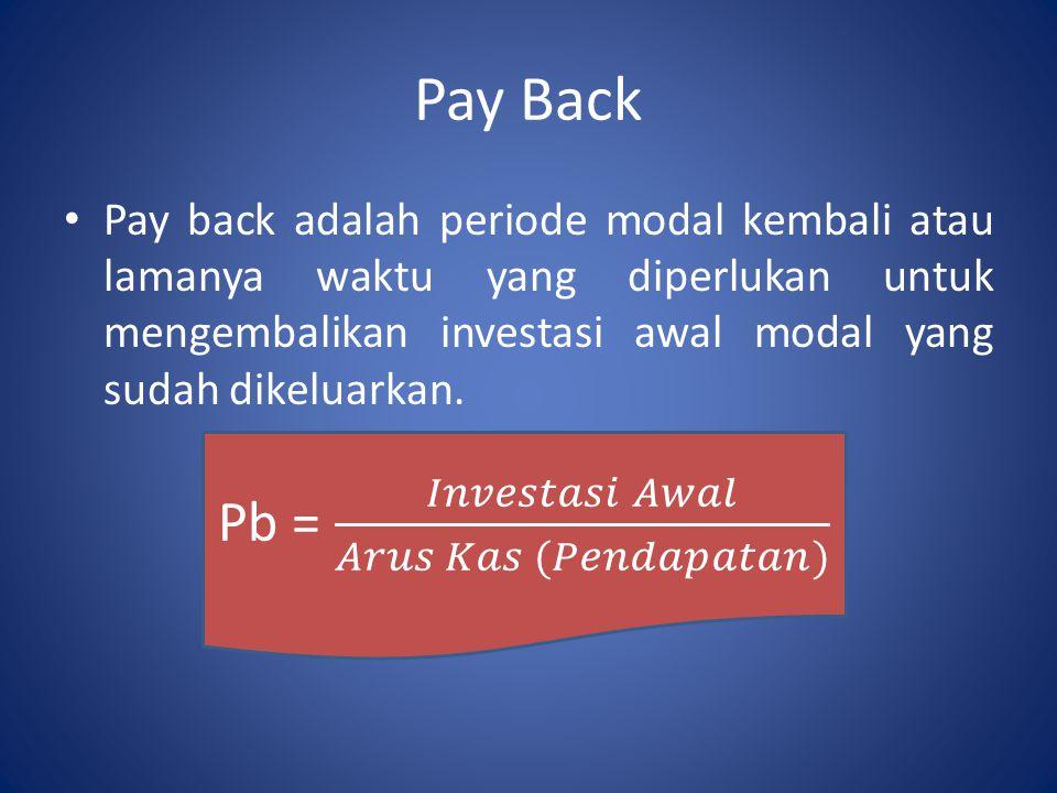 Pay Back Pay back adalah periode modal kembali atau lamanya waktu yang diperlukan untuk mengembalikan investasi awal modal yang sudah dikeluarkan.