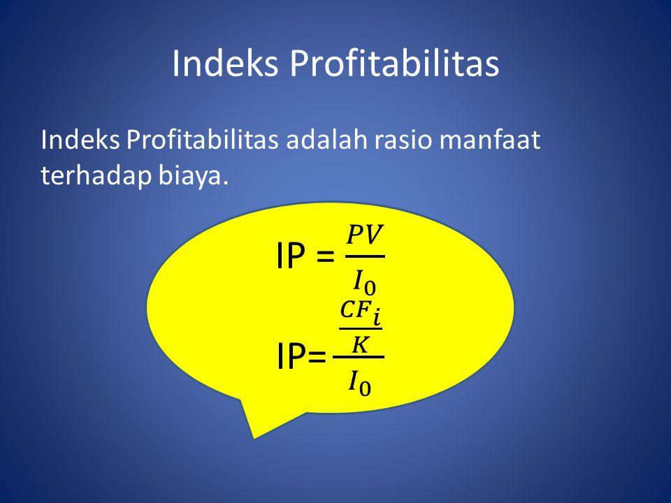 Indeks Profitabilitas Indeks Profitabilitas adalah rasio manfaat terhadap biaya.