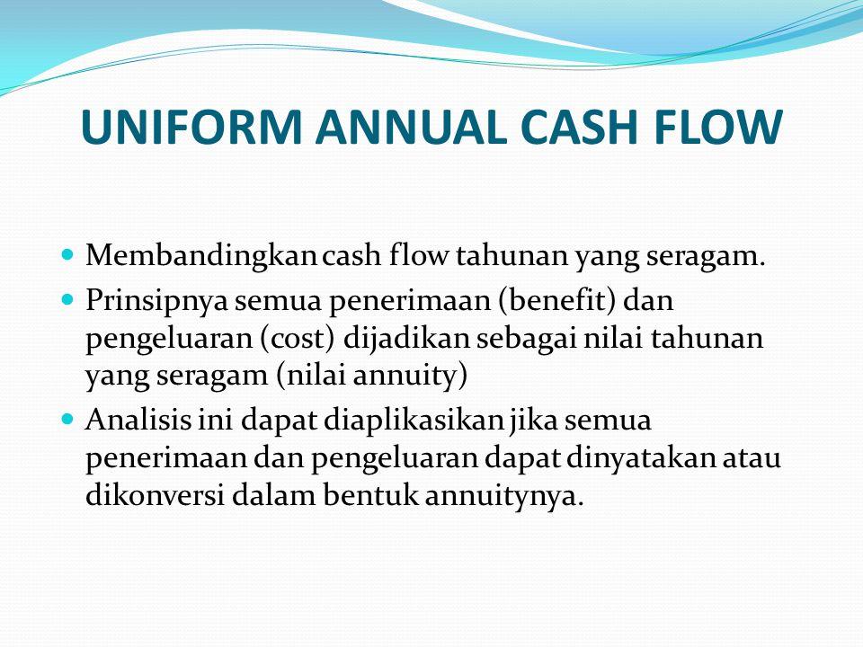 UNIFORM ANNUAL CASH FLOW Membandingkan cash flow tahunan yang seragam. Prinsipnya semua penerimaan (benefit) dan pengeluaran (cost) dijadikan sebagai