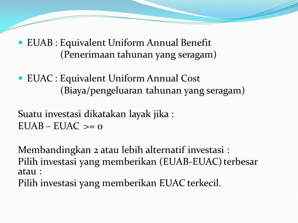 EUAB : Equivalent Uniform Annual Benefit (Penerimaan tahunan yang seragam) EUAC : Equivalent Uniform Annual Cost (Biaya/pengeluaran tahunan yang serag