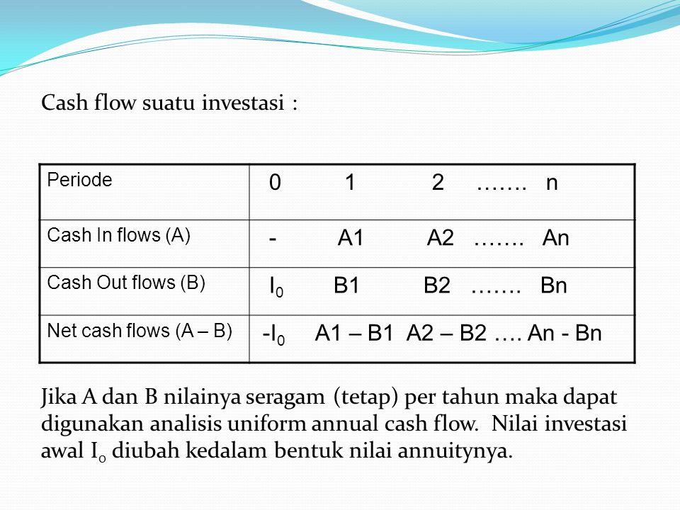 Cash flow suatu investasi : Jika A dan B nilainya seragam (tetap) per tahun maka dapat digunakan analisis uniform annual cash flow. Nilai investasi aw