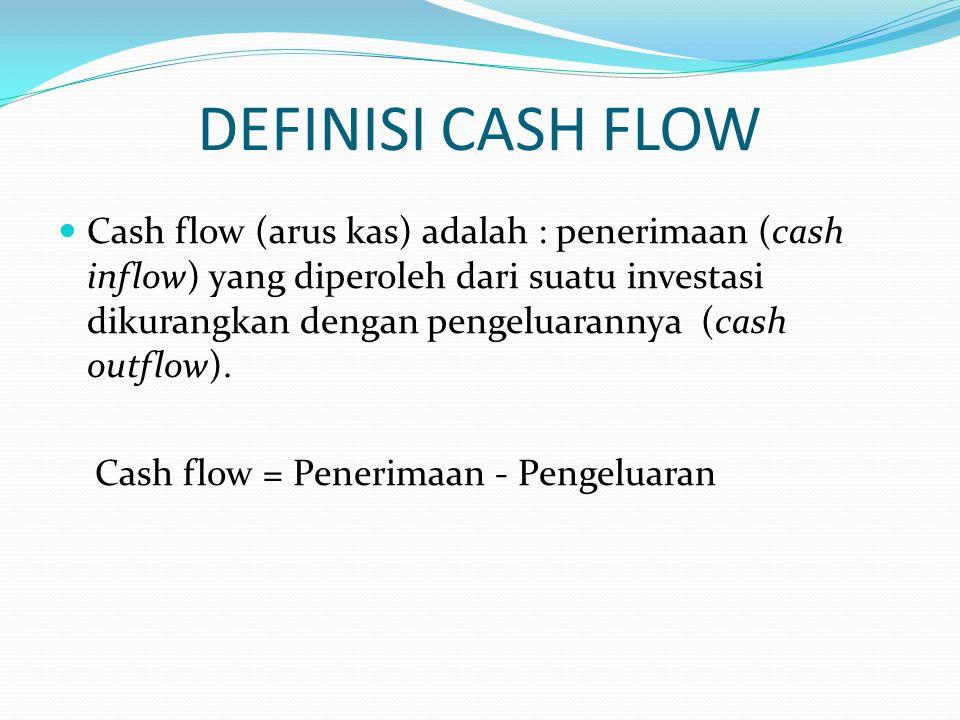 CASH INFLOW : Penerimaan dari penjualan Penerimaan dari kredit bank/pinjaman Penjualan aktiva tetap (mesin, bangunan, dll.) Penyertaan modal dari pemilik usaha Nilai sisa (salvage value) dari bangunan, mesin/ peralatan, pada akhir periode investasi setelah dikurangi oleh penyusutan (depresiasi)