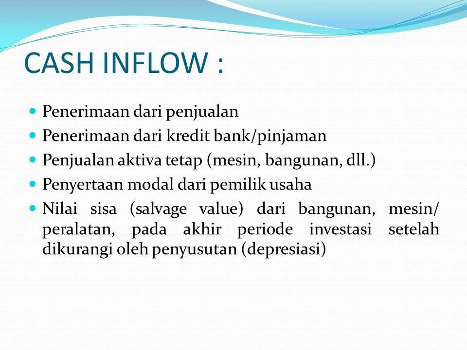 CASH INFLOW : Penerimaan dari penjualan Penerimaan dari kredit bank/pinjaman Penjualan aktiva tetap (mesin, bangunan, dll.) Penyertaan modal dari pemi