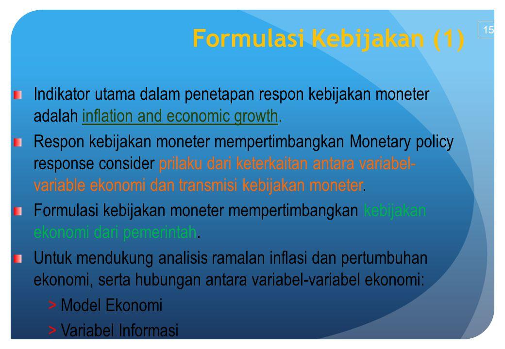 15 Indikator utama dalam penetapan respon kebijakan moneter adalah inflation and economic growth.