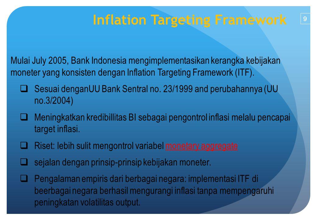 9 Mulai July 2005, Bank Indonesia mengimplementasikan kerangka kebijakan moneter yang konsisten dengan Inflation Targeting Framework (ITF).