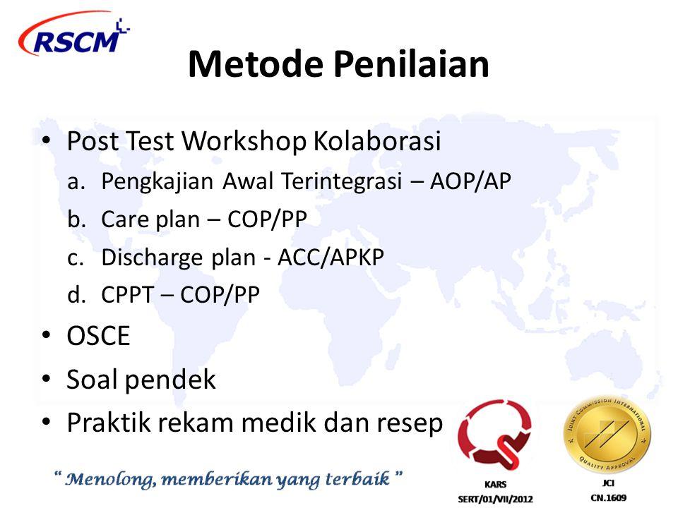 Metode Penilaian Post Test Workshop Kolaborasi a.Pengkajian Awal Terintegrasi – AOP/AP b.Care plan – COP/PP c.Discharge plan - ACC/APKP d.CPPT – COP/P