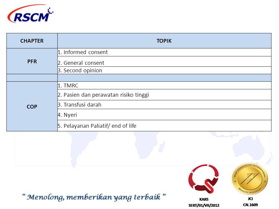 CHAPTERTOPIK PFR 1. Informed consent 2. General consent 3. Second opinion COP 1. TMRC 2. Pasien dan perawatan risiko tinggi 3. Transfusi darah 4. Nyer