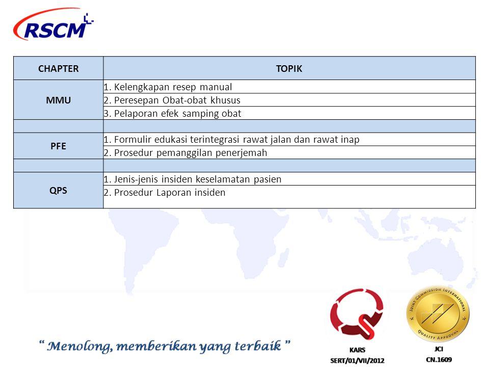 CHAPTERTOPIK MMU 1. Kelengkapan resep manual 2. Peresepan Obat-obat khusus 3. Pelaporan efek samping obat PFE 1. Formulir edukasi terintegrasi rawat j