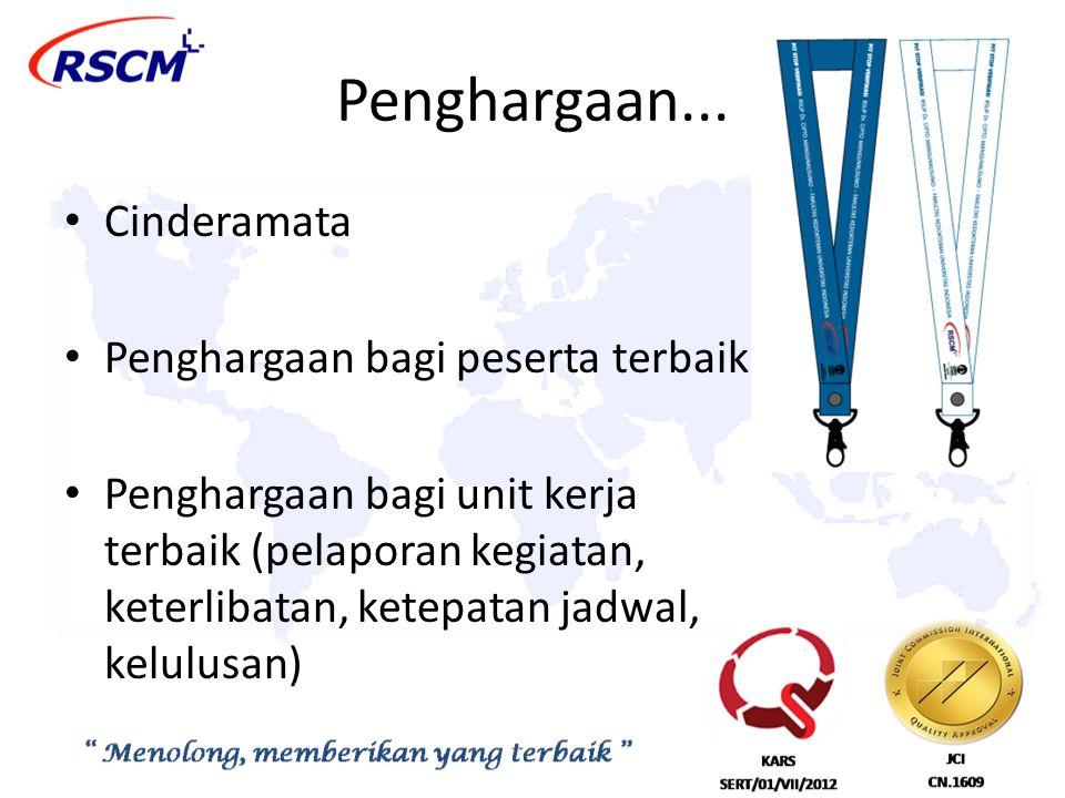 Penghargaan... Cinderamata Penghargaan bagi peserta terbaik Penghargaan bagi unit kerja terbaik (pelaporan kegiatan, keterlibatan, ketepatan jadwal, k