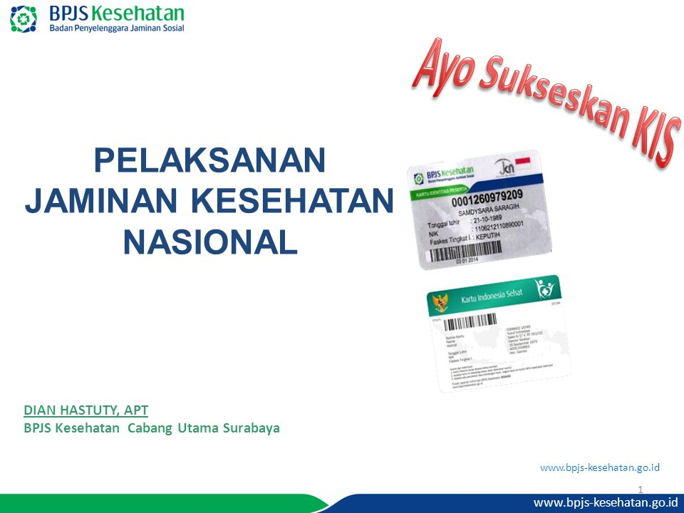 www.bpjs-kesehatan.go.id PELAKSANAN JAMINAN KESEHATAN NASIONAL DIAN HASTUTY, APT BPJS Kesehatan Cabang Utama Surabaya 1