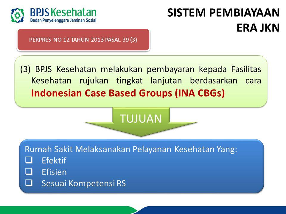 SISTEM PEMBIAYAAN ERA JKN PERPRES NO 12 TAHUN 2013 PASAL 39 (3) (3) BPJS Kesehatan melakukan pembayaran kepada Fasilitas Kesehatan rujukan tingkat lan