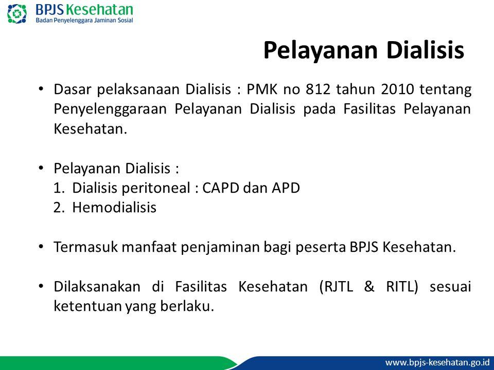 www.bpjs-kesehatan.go.id Pelayanan Dialisis Dasar pelaksanaan Dialisis : PMK no 812 tahun 2010 tentang Penyelenggaraan Pelayanan Dialisis pada Fasilit