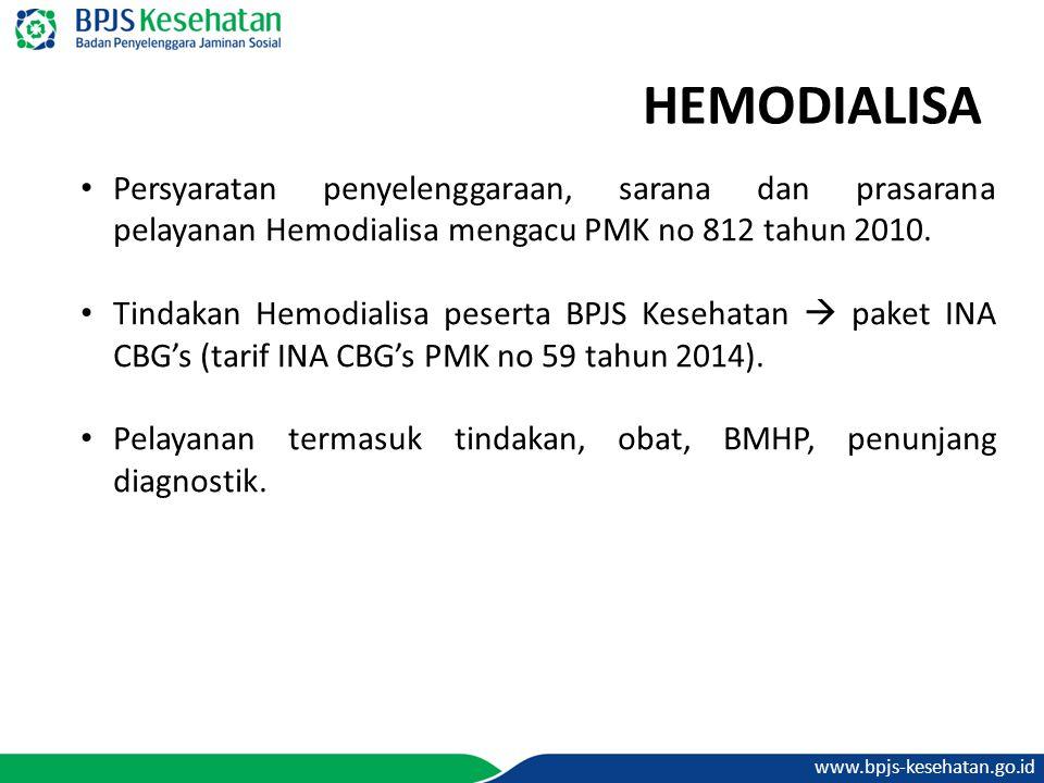 www.bpjs-kesehatan.go.id HEMODIALISA Persyaratan penyelenggaraan, sarana dan prasarana pelayanan Hemodialisa mengacu PMK no 812 tahun 2010. Tindakan H