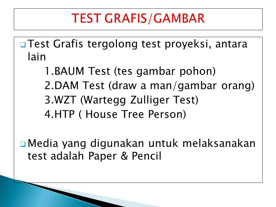  Test Grafis tergolong test proyeksi, antara lain 1.BAUM Test (tes gambar pohon) 2.DAM Test (draw a man/gambar orang) 3.WZT (Wartegg Zulliger Test) 4